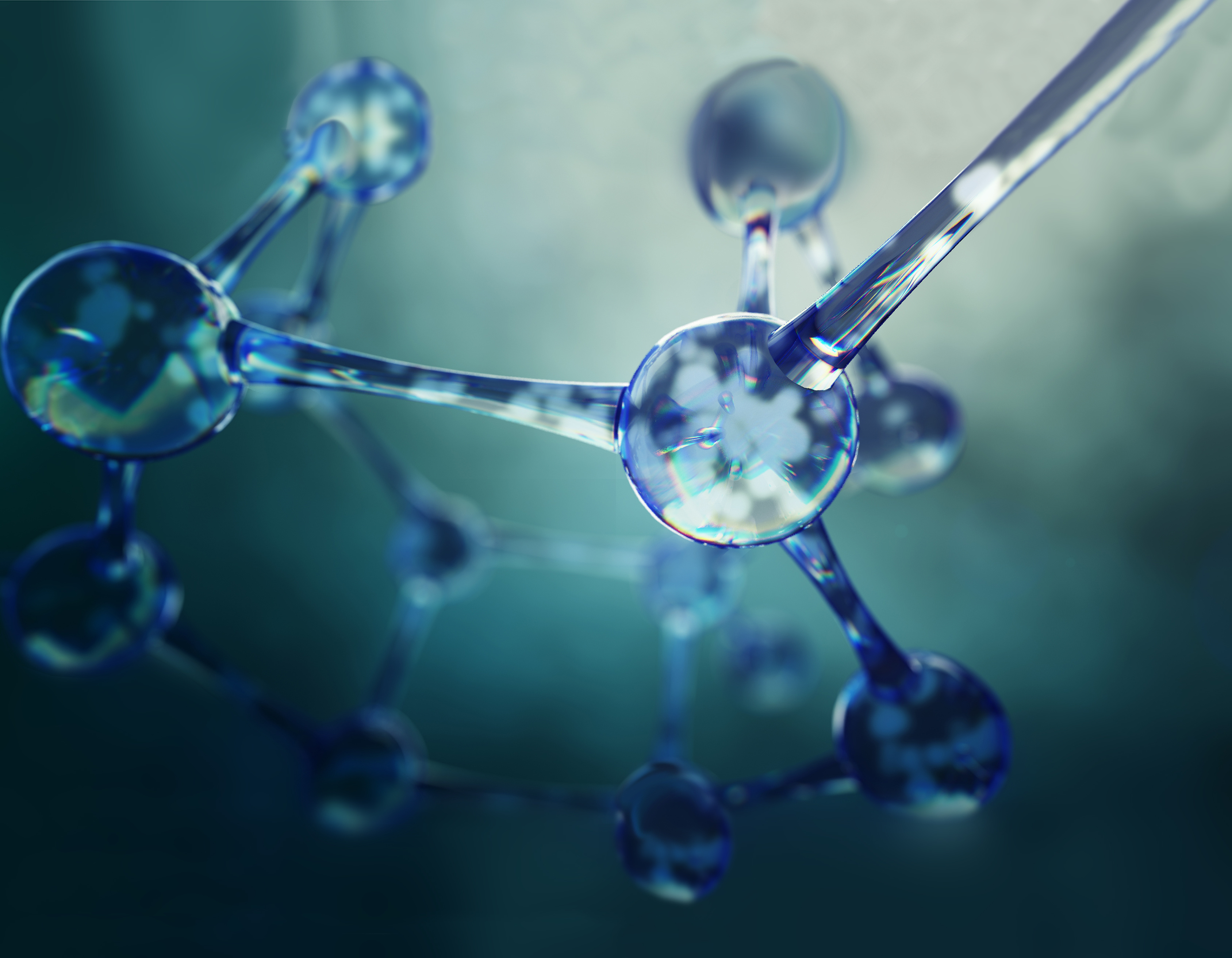 3d illustration of molecule model  science background with